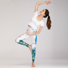 Yoga Suits Printing Flower Woman Sports Twinset 2019 Women Wear Gym Fitness Training Outfits Bra Pants