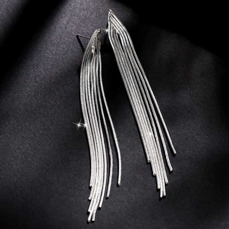 925 Sterling Silver Pin Long Earrings Dangle Earrings For Women Tassel Bohemia Style Fashion Bijouterie Hot Sale  PE390