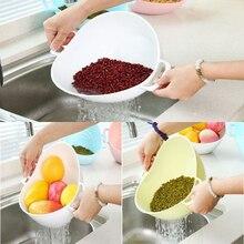 цена Kitchen Double Handle Plastic Basket Vegetable Washing Basket Portable Kitchen Fruit Strainer Storage Basket Cleaning Tool D40