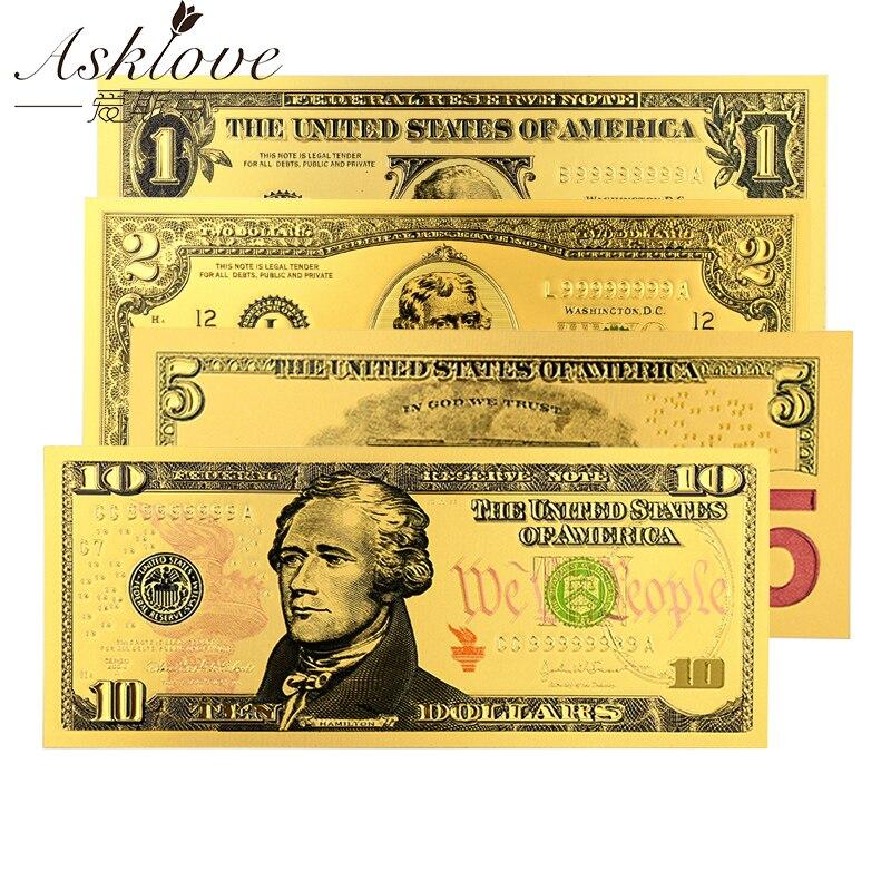 Золотая фольга для США, Поддельные Банкноты в американском долларах, 24K позолоченные Поддельные Банкноты для денег, сувенирная коллекция, п...