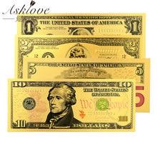 Dólar americano notas falsas 24k ouro chapeado moeda falsa dinheiro lembrança coleção presentes