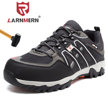 LARNMERN Mens Steel Toe Work Safety Shoes Lightweight Breathable Anti smashing Anti puncture Non slip Reflective Casual Sneaker