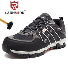 Larnmern男性の鋼つま先の作業安全靴軽量通気性の抗スマッシング抗穿刺非スリップ反射カジュアルスニーカー