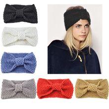 Women Girl Corn Kernels Knitted Wide Headband Bowknot Center Winter Elastic Ear Warmer Hairband Solid Color Sport Thicken Turban