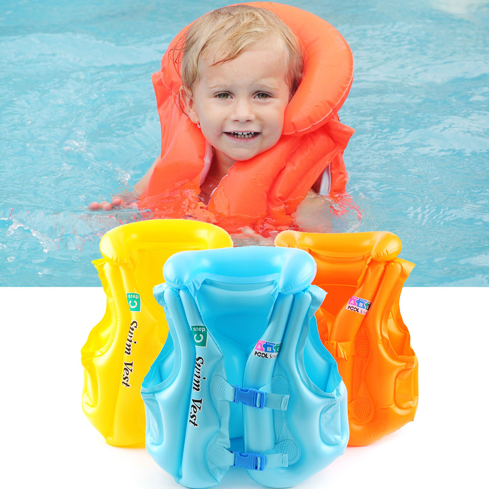 3 Colors New Children's Inflatable Swim Vest Baby Kids Life Jacket Toys Kids Pool Rafts Float Tube Life Jacket Life Saving Vest