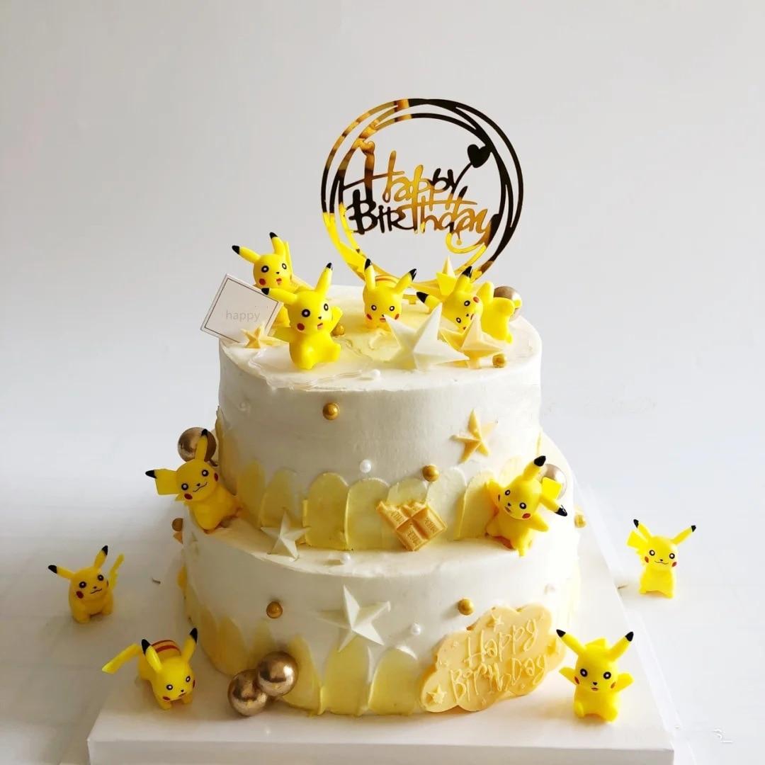 Takara tomy bolo de cozimento decoração pokemon grande pikachu decoração net vermelho bolo de aniversário mesmo topo sobremesa mesa vestir-se