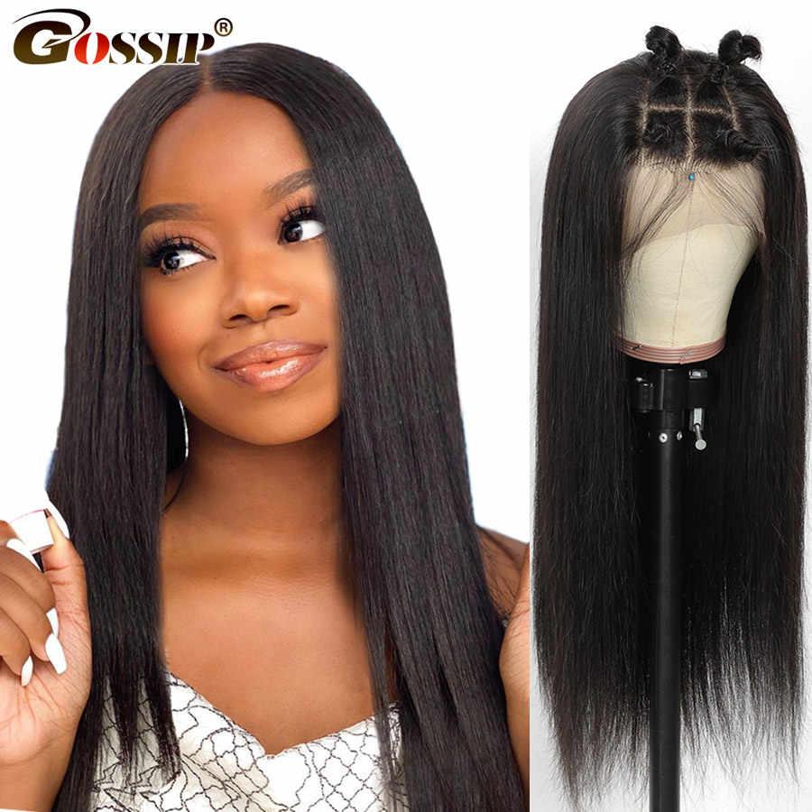 4x4 5x5 peluca con cierre de encaje, peluca recta, peluca con malla frontal 150% Remy malla con división, peluca brasileña de cabello humano para mujeres negras