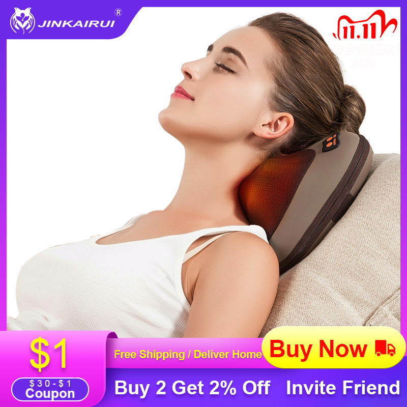 JinKaiRui Massager Pillow Vibrating Kneading Neck Body Hammer Infrared Shiatsu Electric Shoulder Bac