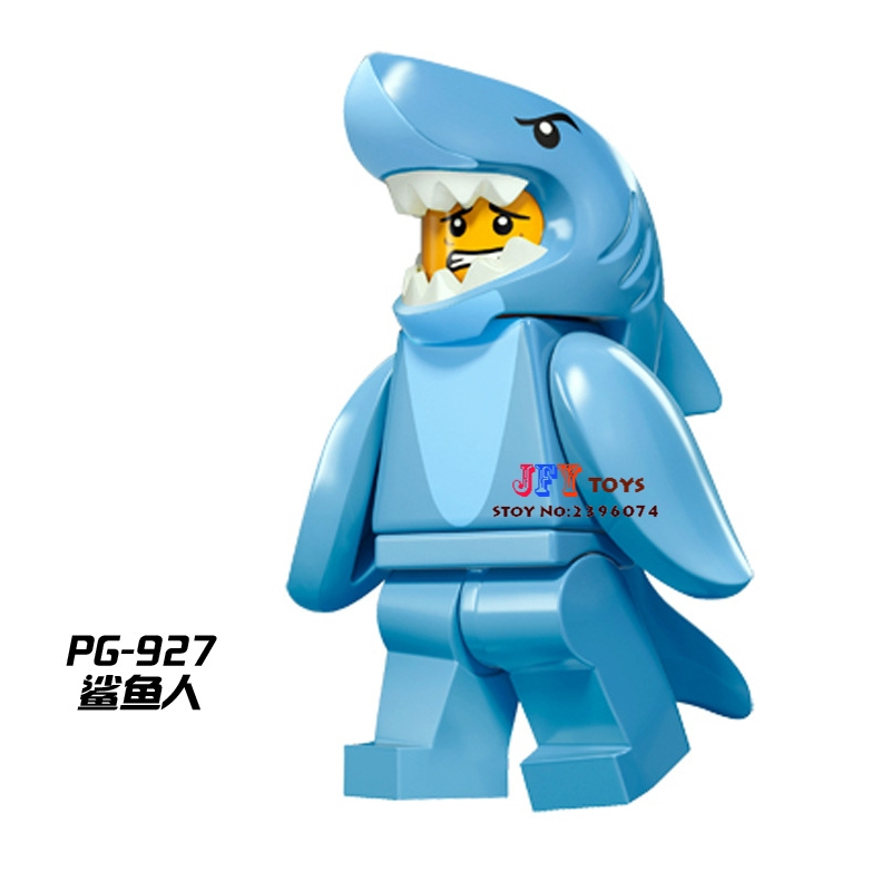 Single Super Heroes Building Blocks Shark Suit Guy Collection Series Model Bricks Toys For Children