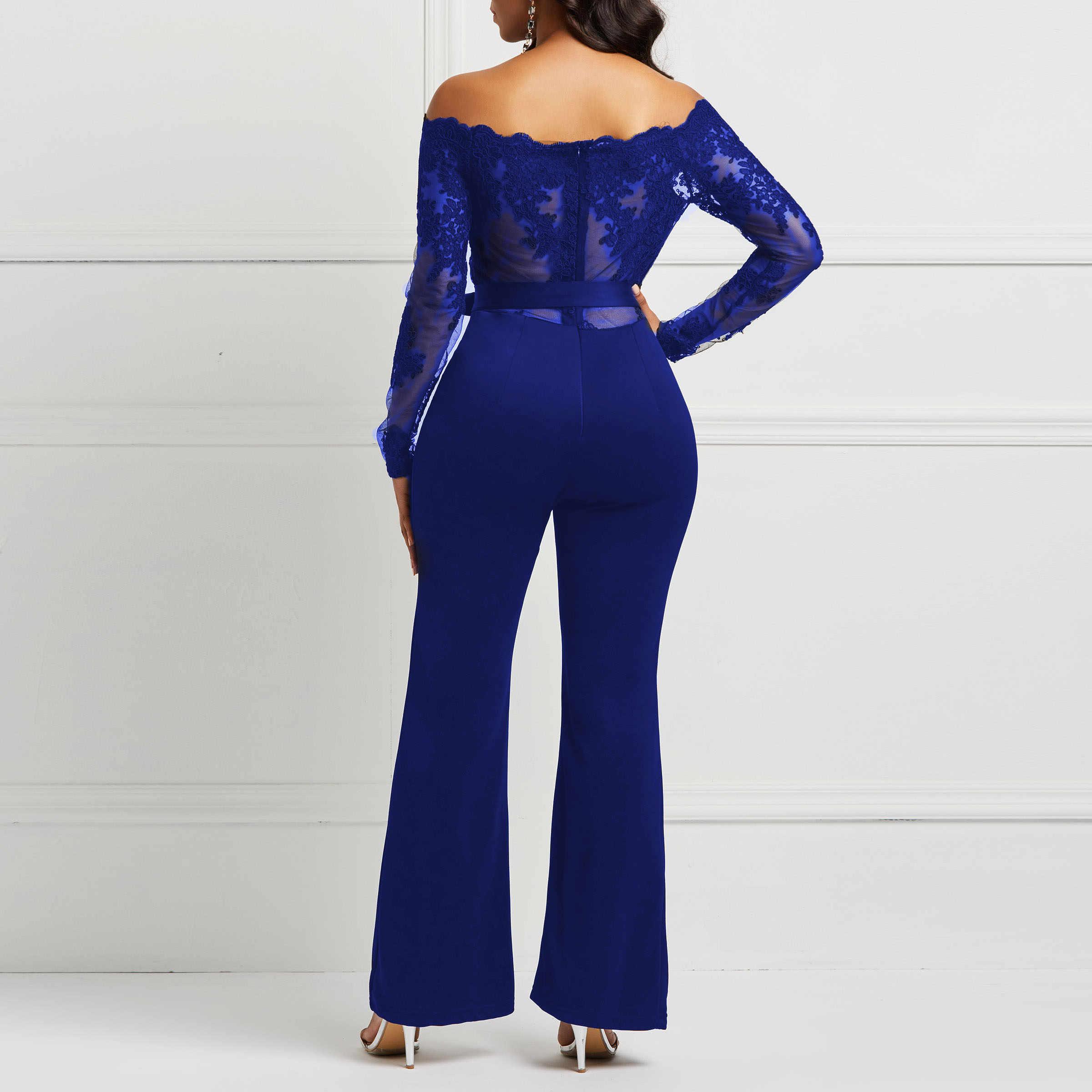 Blue Elegant Off Shoulder Floral Lace Jumpsuit Sexy Off Shoulder Women Slash Neck Long Flare Sleeve  Jumpsuits