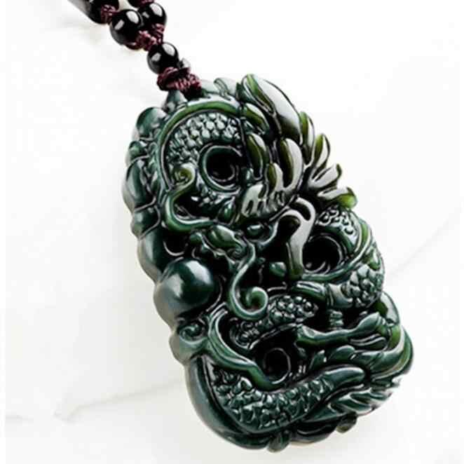 Alami Hetian Jade Dragon Liontin Kalung Pesona Perhiasan Fashion Aksesoris Ukiran Tangan Pria dan Wanita Luck Amulet Hadiah