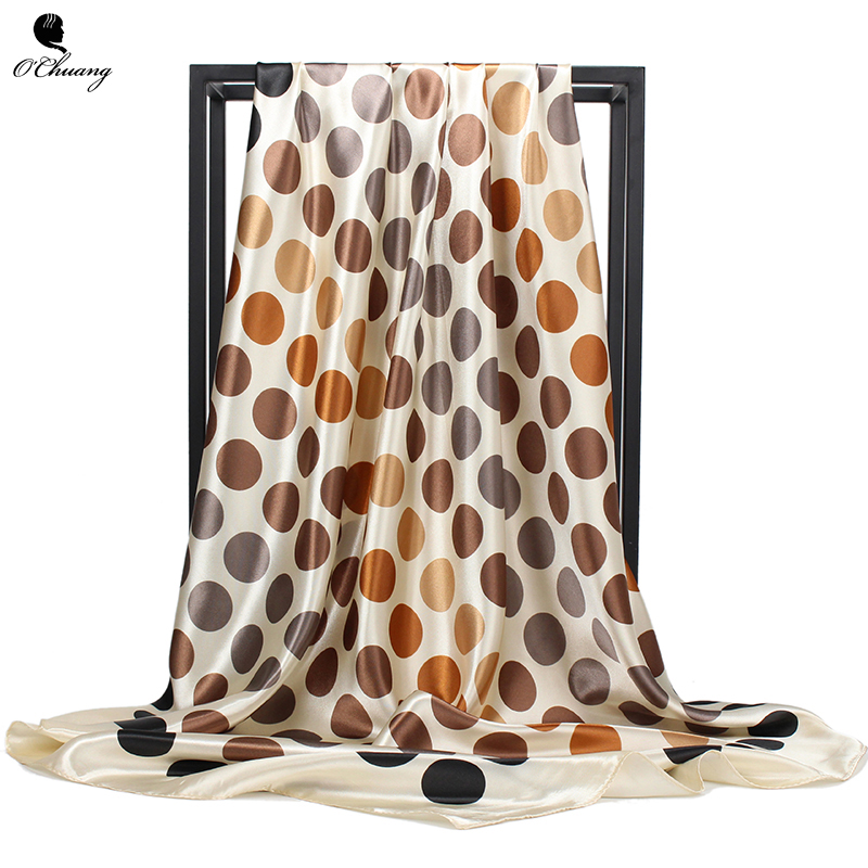 2019 Square Silk Scarf Women Loop Polka Dot Shawls And Wraps Fashion Bag Scarves Head Bandanas Hijab 90*90Cm Handkerchief
