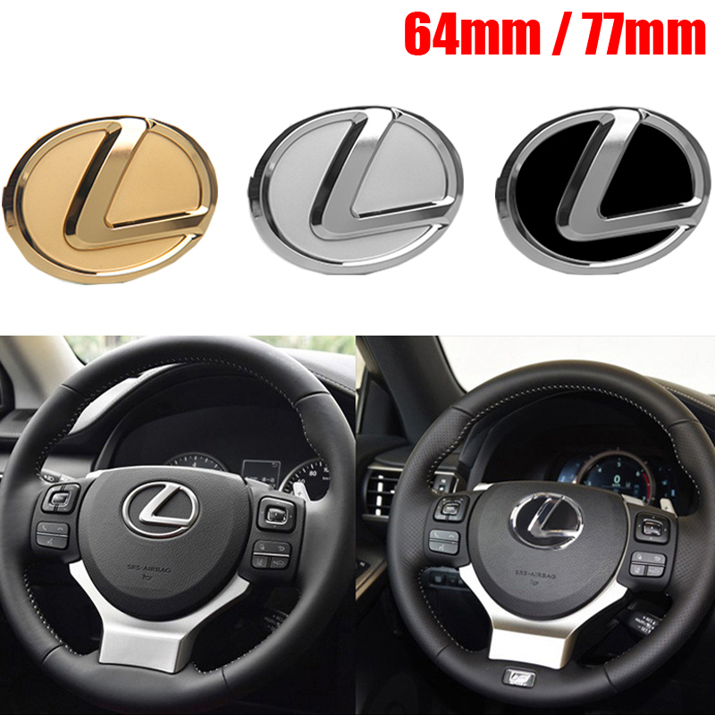 64mm/74mm Car Steering Wheel Emblem For Lexus IS ES CT LS NX GX PX GS200t IS250 ES300 LS500 GX470 Chrome Decal Interior Styling