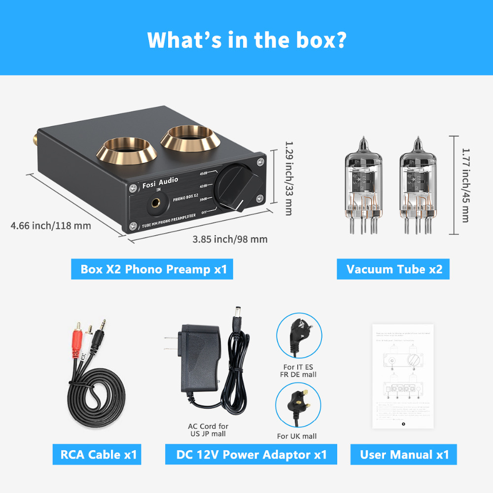 Fosi Audio Phono Preamp for Turntable Phonograph Preamplifier Mini Stereo Audio HiFi Vacuum Tube Amplifier Box X2 For DIY