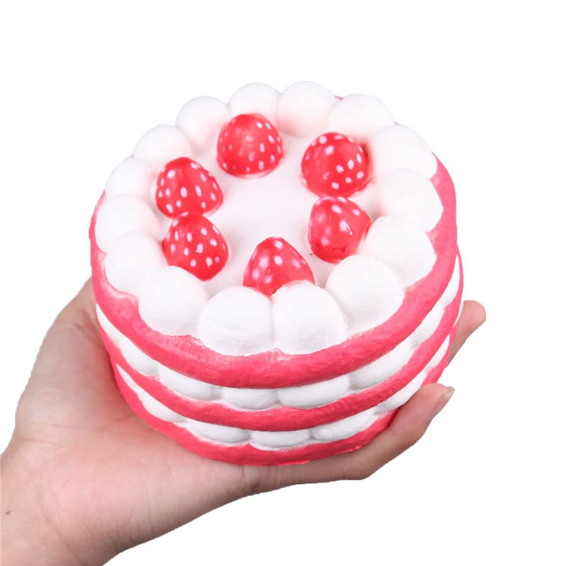 Cute Jumbo Strawberry Cake Stress Reliever Squishy Slow Rising Cream Scented Decompression Cure Toy Squish Toys For Kid Child