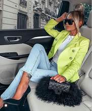 Plus Size XL XXL Women Winter Style Sexy V Neck Long Sleeve Neon Green Blazer Coat 2020 Fashion Designer High Street Coats(China)