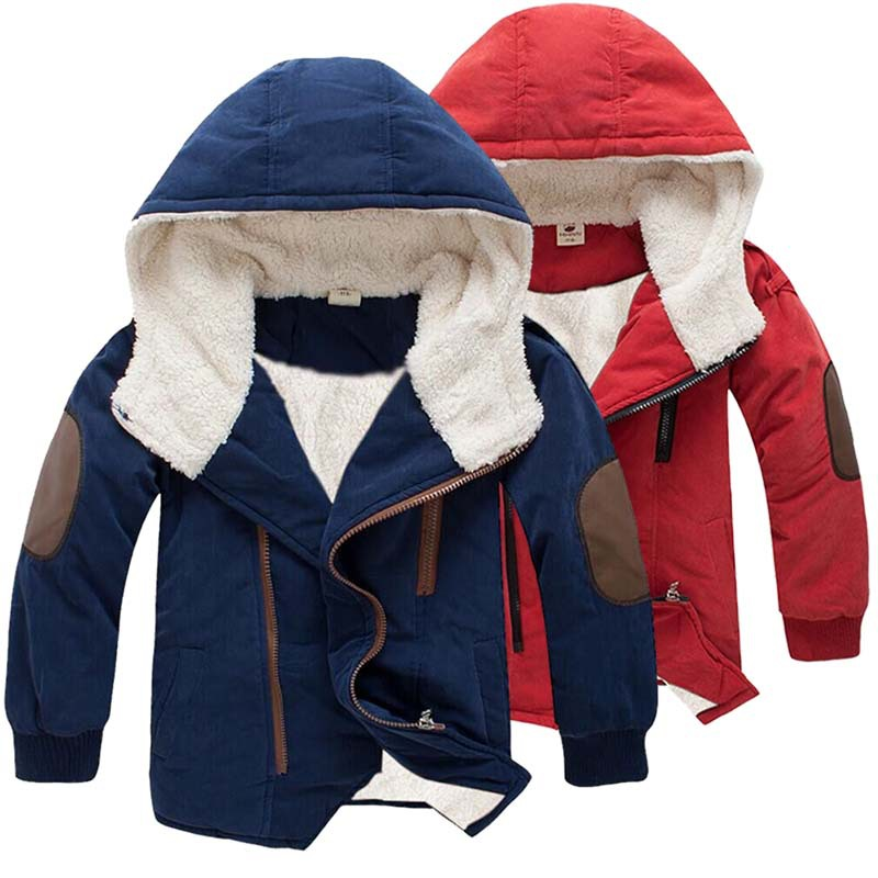 2-10 Year Plus Velvet Warm Boys Jacket Cotton Thick Hooded Coat For Boys Winter Boys Outerwear Kids Christmas Gifts Clothes