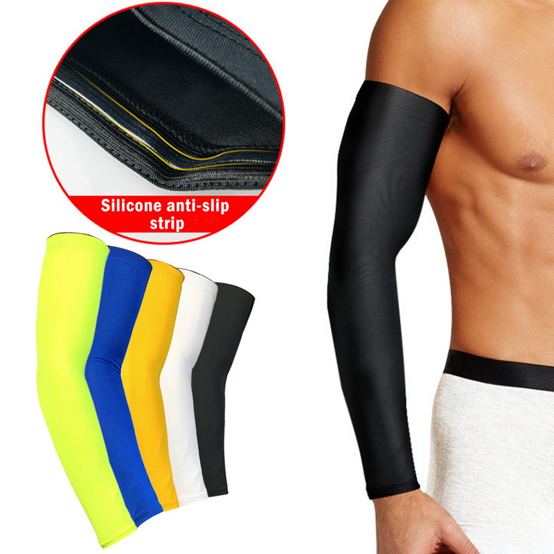 1Pc Breathable Quick Dry Arm Warmer Sleeves UV Protection Running Basketball Elbow Pad Fitness Armguards Sports Arm Warmers Blue