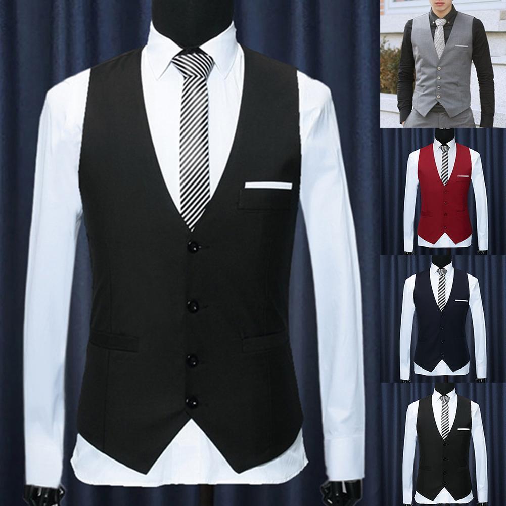 Men Formal Waistcoats Dress Suit Vest S-lim Three Button Polyester + Spandex Vest Men Casual Sleeveless British Autumnn Suit Ves