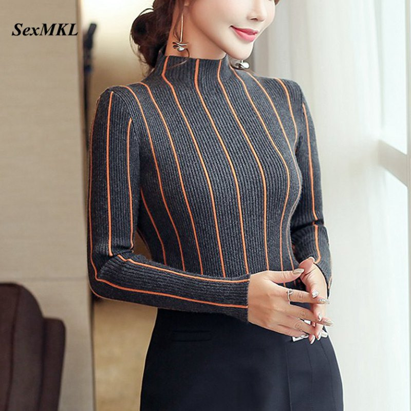SEXMKL Striped Turtleneck Pullover Women 2019 Winter Thick Sweater Red Korean Ladies Office Knitted Sweater Black Top Pull Femme