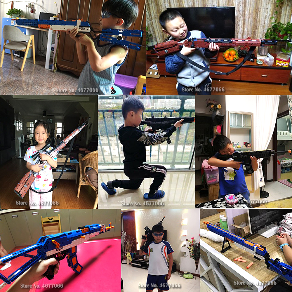 Legoed gun model building blocks p90 toy gun toy brick ak47 toy gun weapon legoed technic bricks lepin gun toys for boy 1