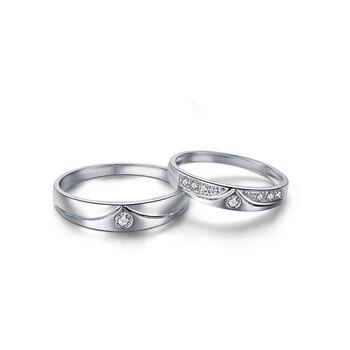 0.05ct/men 0.08ct/women Diamond Ring 18K White Gold Wedding Rings Couple Set Genuine Gold Engagement Ring Wedding Band 1