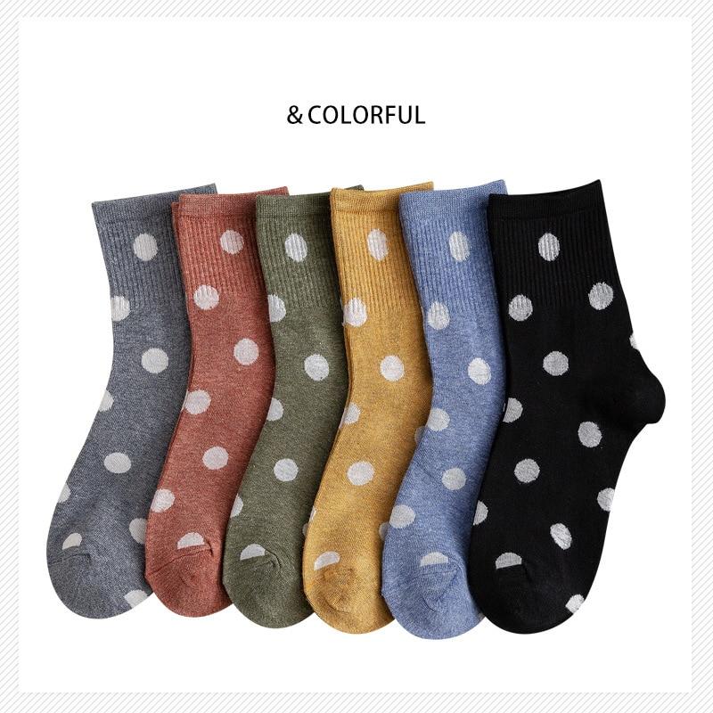 Autumn New Cotton Polka Dots Women Socks Vintage Lovely Colored Print Casual Socks Comfortable High Grade Cute Lady Socks