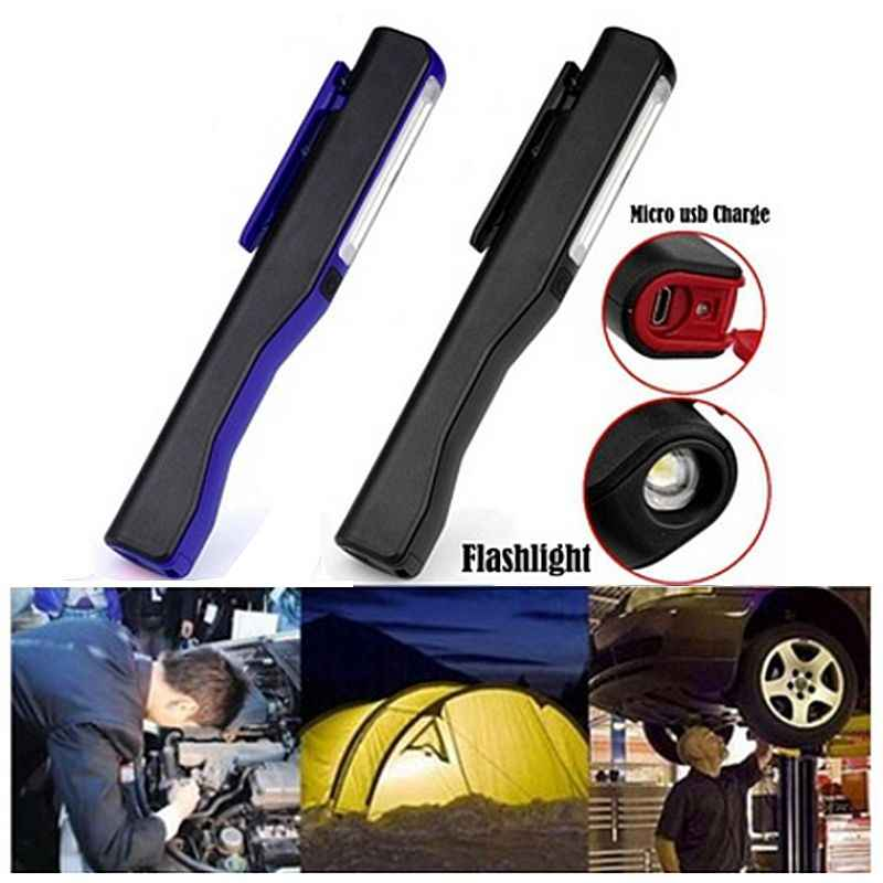 TOP!-Rechargeable LED COB Portable Camping Work Inspection Light Lamp Hand Torch Magnetic for Household Workshop Automobile Ca