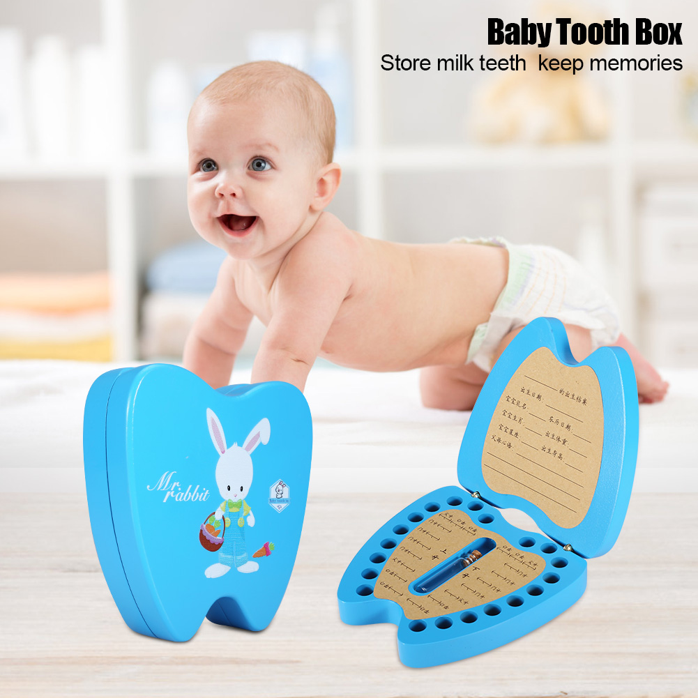New Baby Tooth Box Wooden Children Milk Teeth Hair Collection Organizer Box For Boy Girl Rabbit Save Teeth Save Case