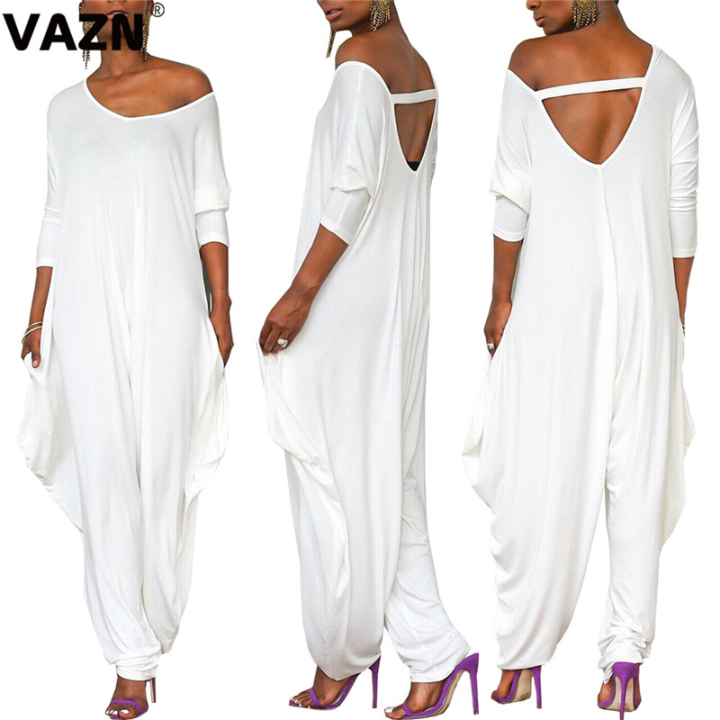VAZN Black White High New 2020 Hot Fashion High Street Jumpsuits Casual Sexy Wide Leg Long Pants High Waist Long Jumpsuit