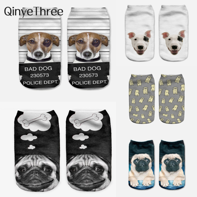2018 New Cute 3D Print Socks Cool Lovely Dogs Women Ankle Socks Chaussette Animal Socks Art Cotton Hosiery Bad Dog Pug Life Sox