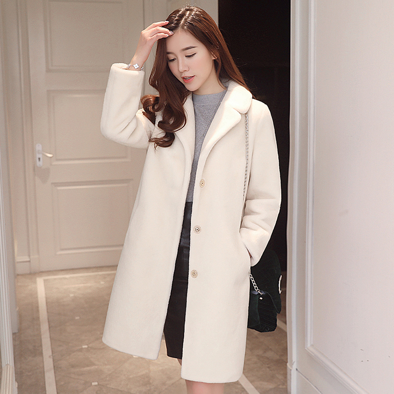 Women's Fashion 2020 Winter Jacket Real Wool Fur Coat Sheep Shearing Fur Coats Medium Long Trench Female Outwear S939 S