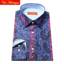 Индивидуальный заказ wo для мужчин на заказ хлопок цветочные рубашки бизнес формальные свадебные ware Блузка Красный Полосатый синий цветок Пейсли