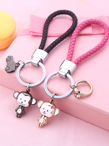 Image 2 - Milesi Lovers Keychain Monkey Shape Key Pendant Rhinestone Women Key Finder Fashion Men Car Keyring Cute Couple Gift K0197