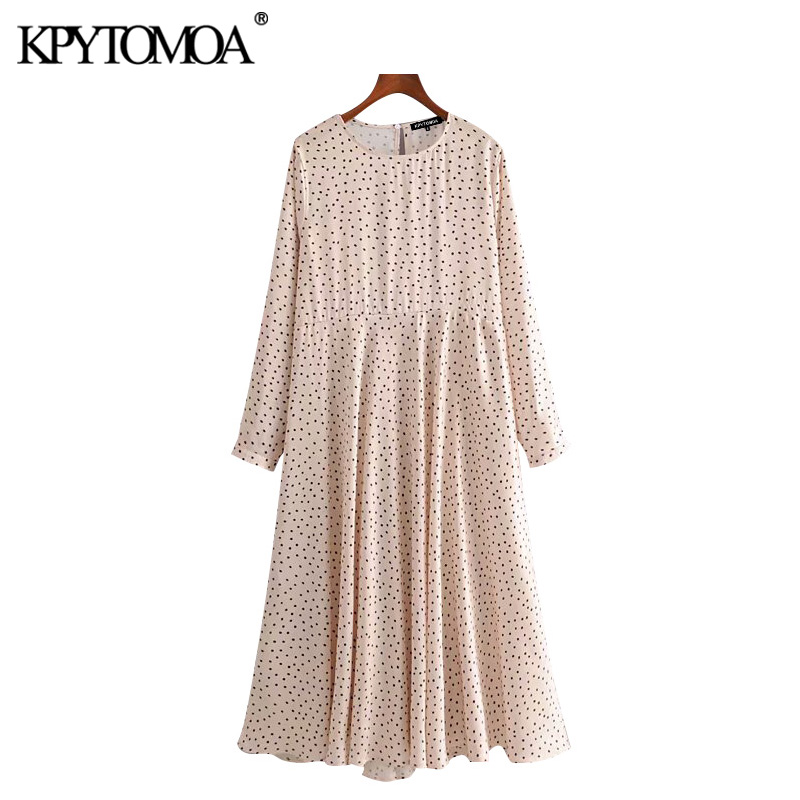 KPYTOMOA Women 2020 Chic Fashion Polka Dot Midi Dress Vintage O Neck Long Sleeve Female Dresses Casual Vestidos Mujer