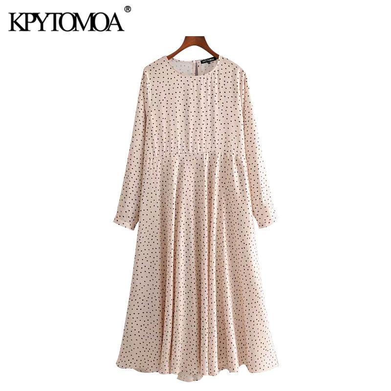 KPYTOMOA Women 2020 Chic Fashion Polka Dot Midi Dress Vintage O Neck Long Sleeve Female Dresses Casual Vestidos Mujer