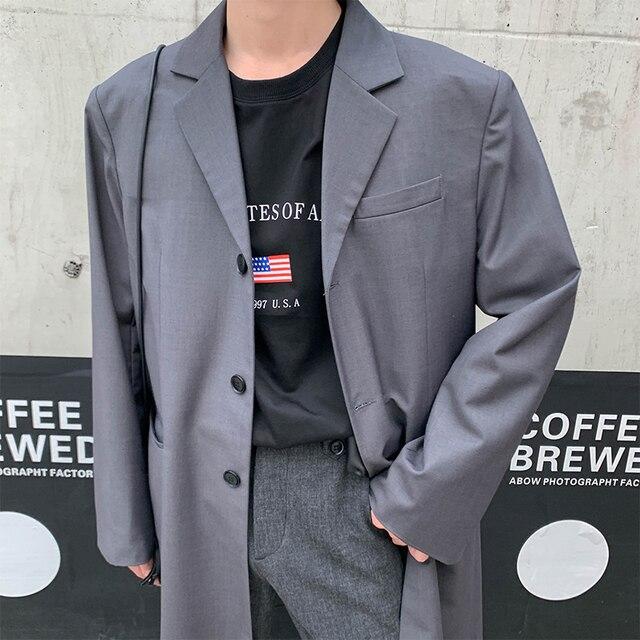 2019 Men's Long Bomber Suit Jacket Black Windbreaker Western Clothes Trench Loose Coat British Style Overcoat Cotton Blazers
