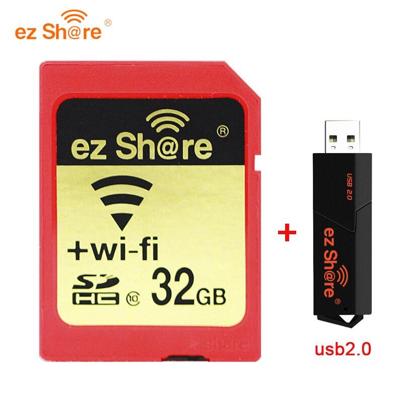 Nova marca original quente ez compartilhar wi-fi cartão sd wireles compartilhar cartão de memória 16gb 32gb sdhc 64gb sdxc classe 10 flash usb frete grátis
