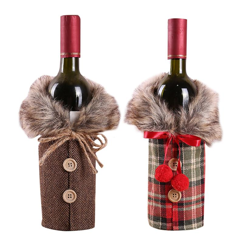 Red Wine Bottle Cover Bags Plaid Christmas Decoration Plaid US