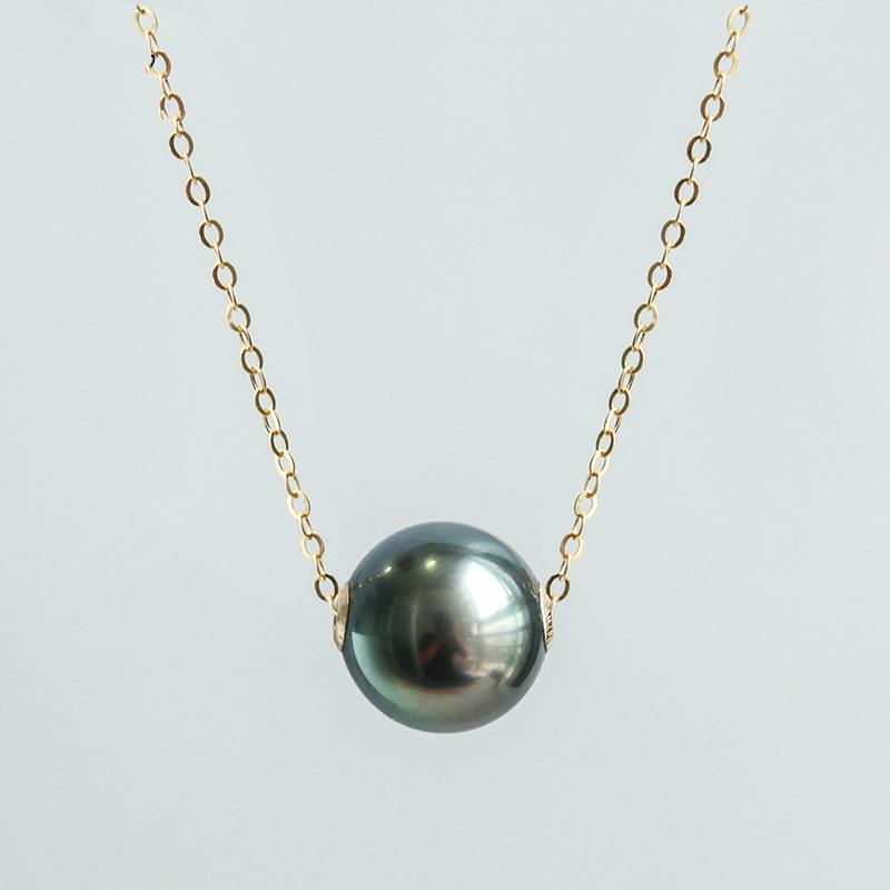 Collier pendentif en perle noire Simple de conception classique de l'eau de mer de tahiti colliers de mode pour les femmes collier en or femmes