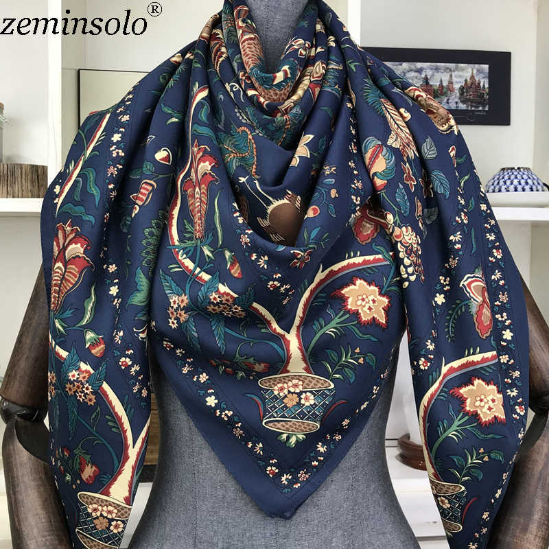 Роскошный бренд 100% твил шелковый шарф квадратный 130*130 см шарф шарфы новый дизайн платок с принтом женский шейный платок обертывание хиджаб