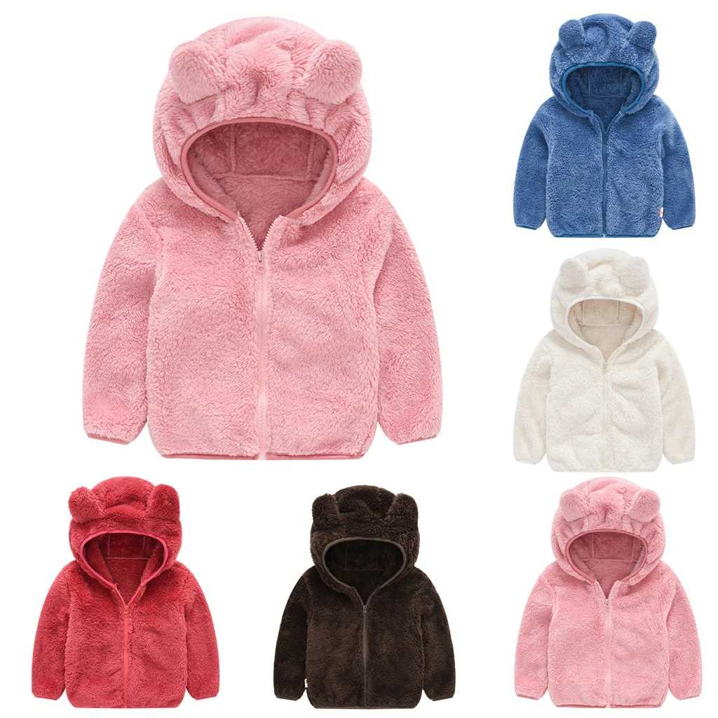 CYSINCOS Toddler Kids Baby Gril Boy Cute Ear Zipper Solid Thick Hooded Coat Warm Outwear 2019 Winter Fashion Baby Girl Clothes