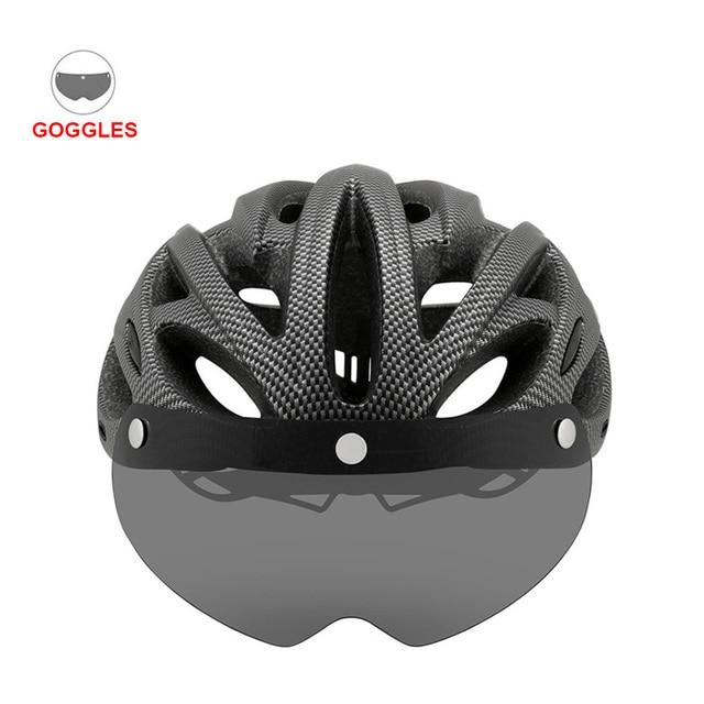 Mais novo bicicleta de estrada mountain bike capacete com tt lens & viseira das mulheres dos homens ciclismo capacete com luz traseira esportes mtb capacete da bicicleta 4