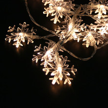 1x Sneeuwvlok Led String Fairy Light Battery Operated Kerst Decor 5 Kleur(China)