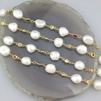 5meters 1roll/lot Fashion rosary chain,gold plating pearl bead chain, handmade necklace/bracelet jewelry cheap wholesale