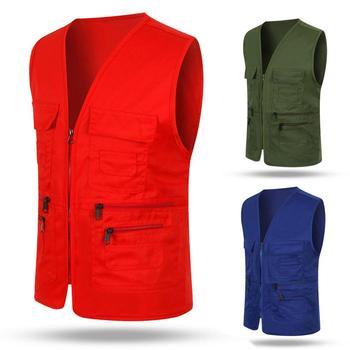 Unisex Multi-Pocket Solid Color Waistcoat Work Fishing Photography Vest Jacket