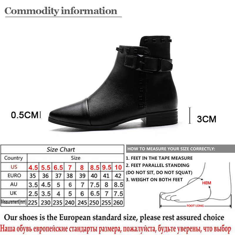 Gdgydh Seksi Perçin Sivri Burun Çizmeler Ayak Bileği Kadın Düşük Topuklu Bayanlar Chelsea Çizmeler Siyah Deri Punk Tarzı kadın ayakkabısı Parti Için