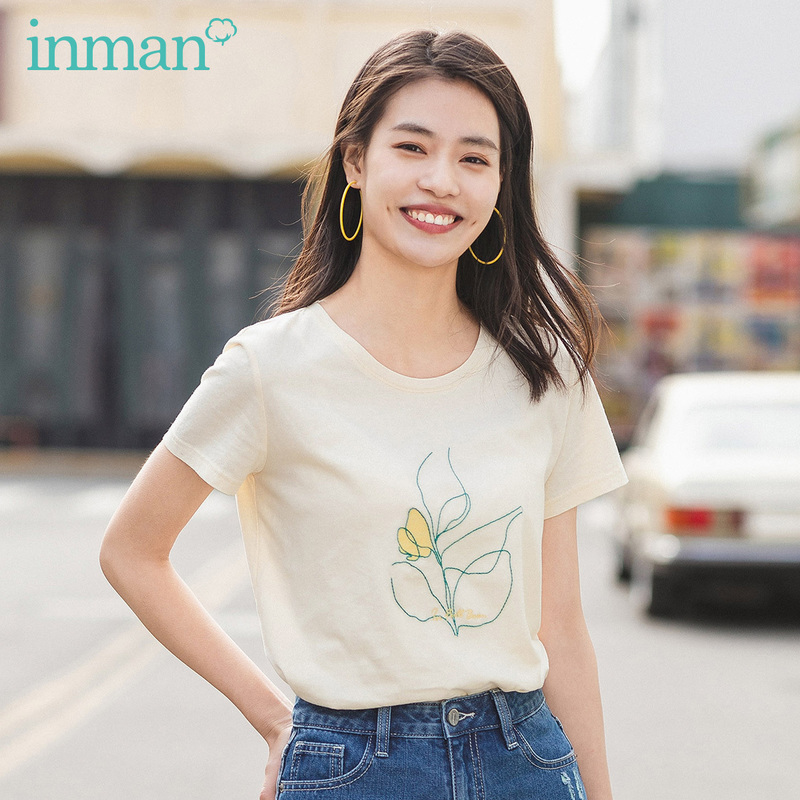 INMAN 2020 Summer New Arriavl Pure And Fresh Round Collar Pure Cotton Embroidered Short Sleeve T-shirt