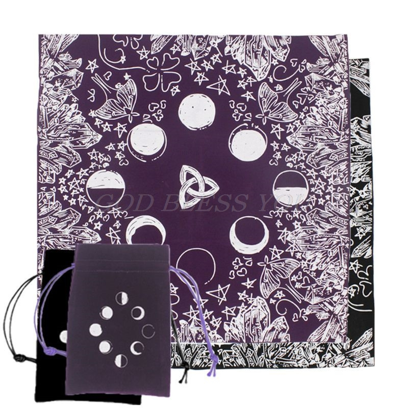 Velvet Tarot Tablecloth With Bag Witch Divination Moon Phases Lover Altar Cloth