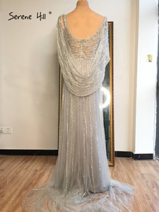 Image 5 - 穏やかな丘ゴールドシルバー v ネックのセクシーなイブニングドレス 2020 ビーズノースリーブスプリットマーメイドイブニングドレスリアルフォト DLA70301